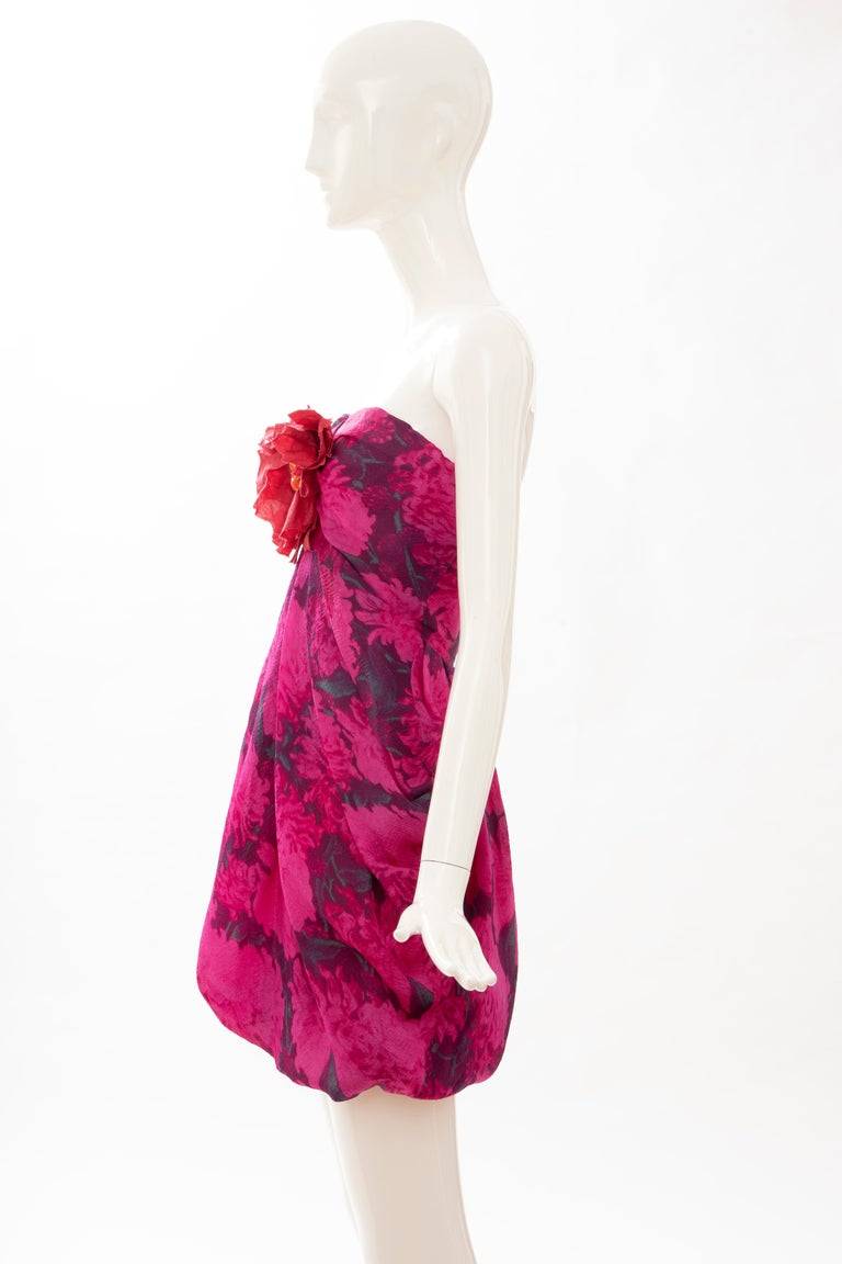 Alber Elbaz Lanvin Silk Printed Floral Embroidered Strapless Dress, Spring 2010 3