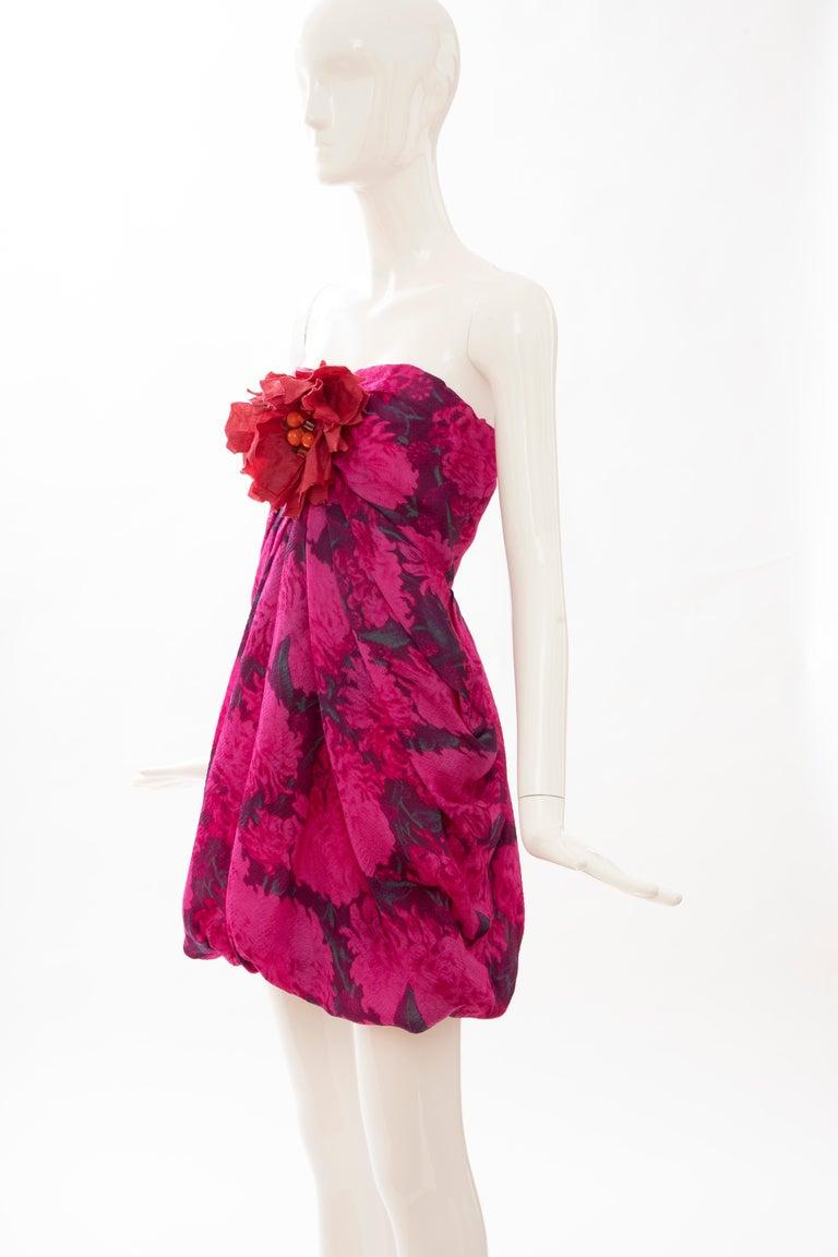 Alber Elbaz Lanvin Silk Printed Floral Embroidered Strapless Dress, Spring 2010 4