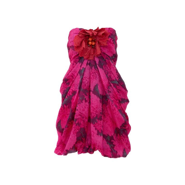Alber Elbaz Lanvin Silk Printed Floral Embroidered Strapless Dress, Spring 2010