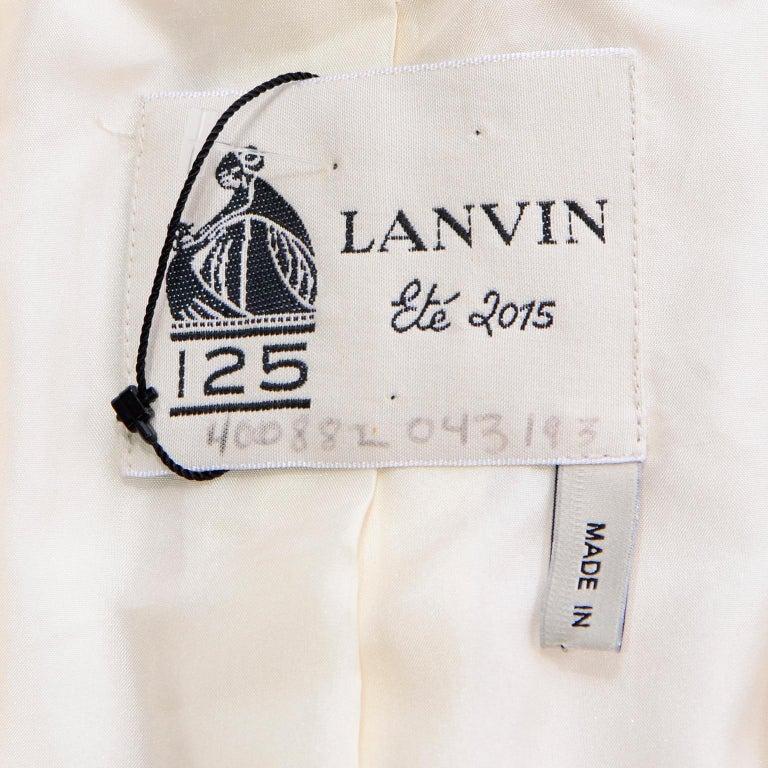 Alber Elbaz Lanvin Spring 2015 Cream Cutaway Tuxedo Style Jacket For Sale 5