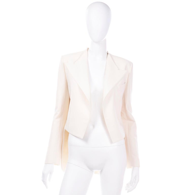 Beige Alber Elbaz Lanvin Spring 2015 Cream Cutaway Tuxedo Style Jacket For Sale