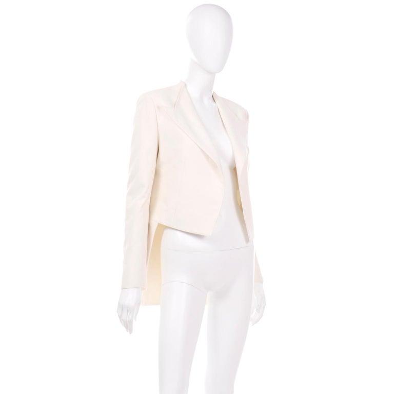 Alber Elbaz Lanvin Spring 2015 Cream Cutaway Tuxedo Style Jacket In Excellent Condition For Sale In Portland, OR