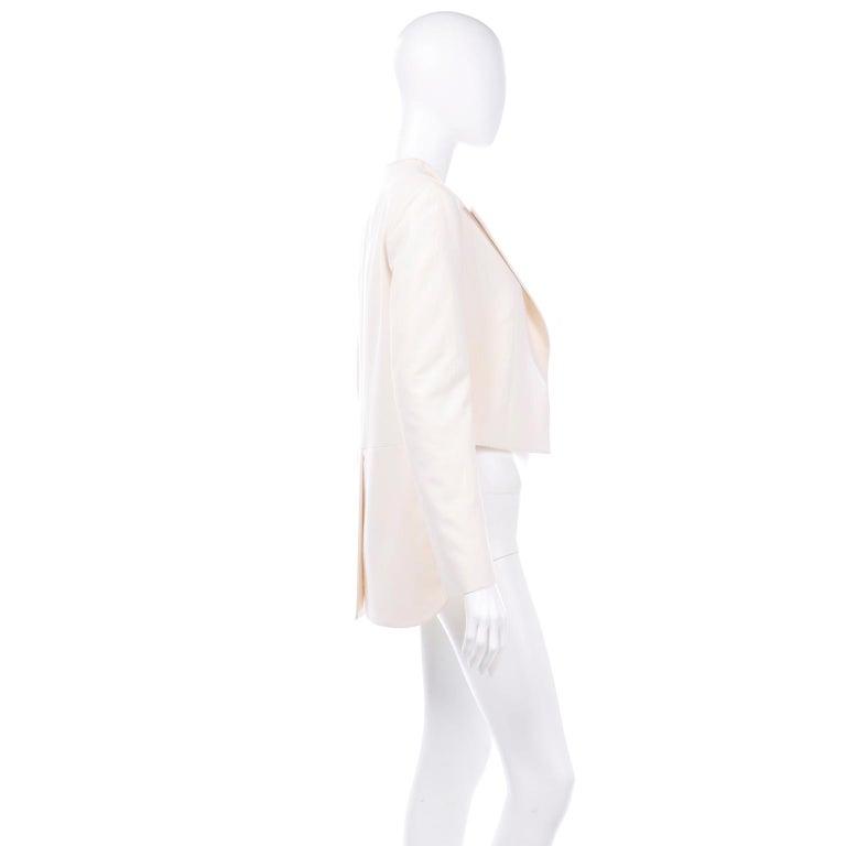 Women's Alber Elbaz Lanvin Spring 2015 Cream Cutaway Tuxedo Style Jacket For Sale