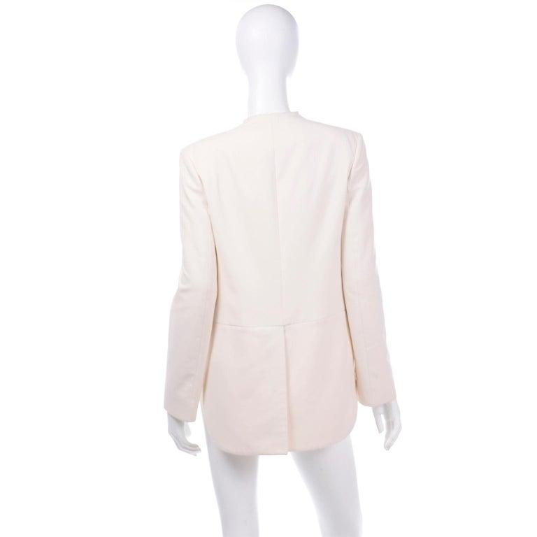 Alber Elbaz Lanvin Spring 2015 Cream Cutaway Tuxedo Style Jacket For Sale 1