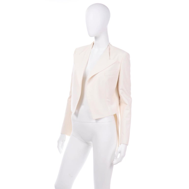 Alber Elbaz Lanvin Spring 2015 Cream Cutaway Tuxedo Style Jacket For Sale 2