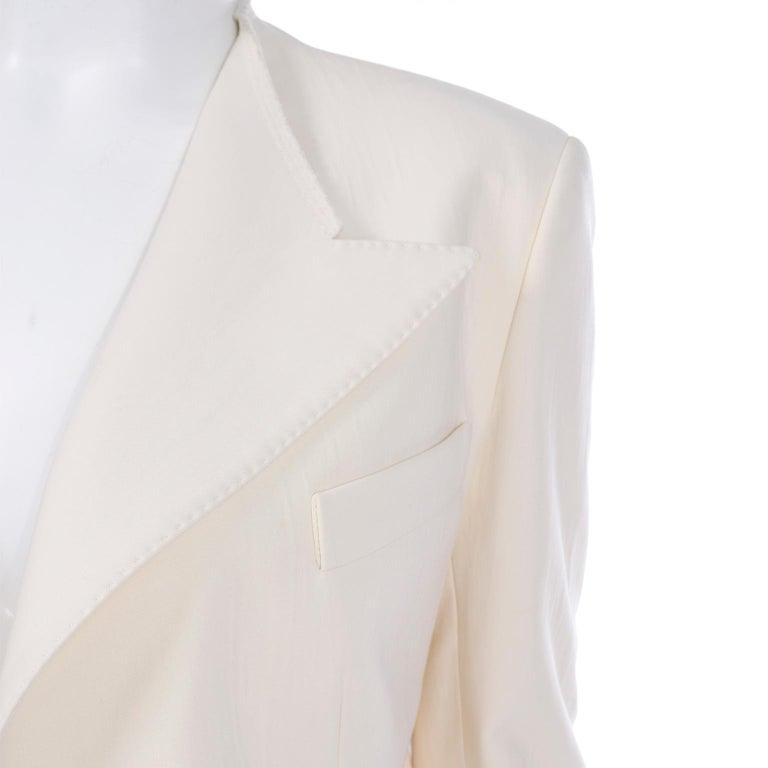 Alber Elbaz Lanvin Spring 2015 Cream Cutaway Tuxedo Style Jacket For Sale 3