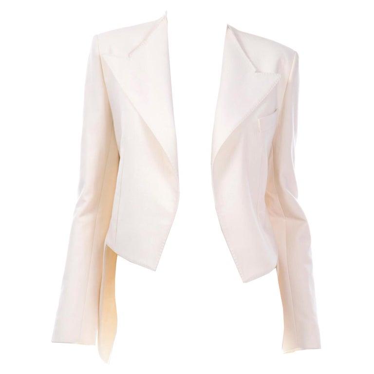 Alber Elbaz Lanvin Spring 2015 Cream Cutaway Tuxedo Style Jacket For Sale