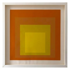 Albers Yellow and Oranges Silkscreen, Interaction of Color Homage to the Square