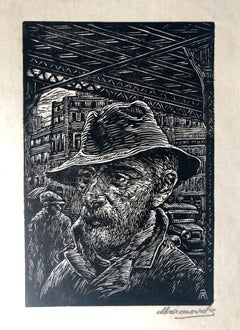 Coming Home Woodblock Print c.1930's WPA Woodcut Print Hand Signed