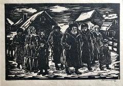Jewish Shtetl Russian Village Judaica Woodblock Print WPA Artist Hand Signed
