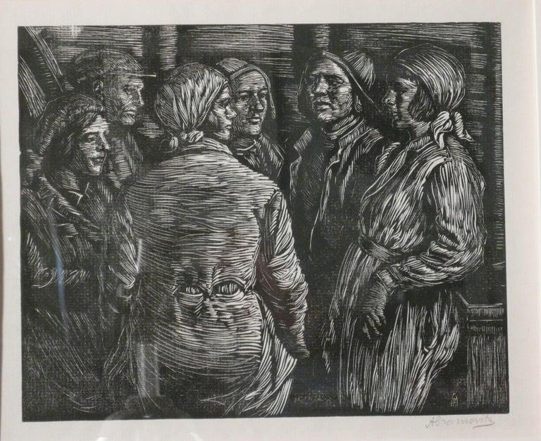 Albert Abramovitz Figurative Print - MEETING IN THE SHAFT