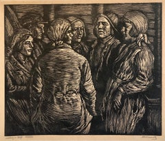 Moscow, Russia Workers Woodblock c.1930s WPA era Woodcut Print Hand Signed