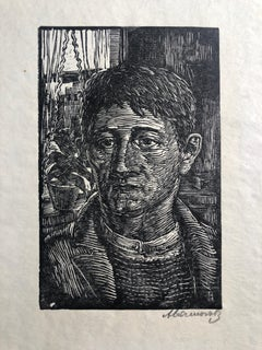 The Worker Woodblock Print c.1930's WPA Woodcut Print Hand Signed