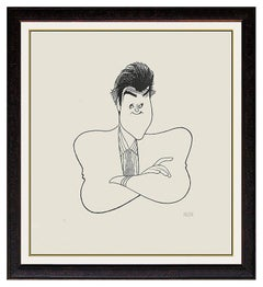 AL HIRSCHFELD Color Lithograph Hand Signed Caricature Rare Jay Leno Art Albert