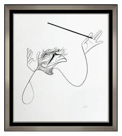 Al Hirschfeld Lithograph Hand Signed Caricature Portrait Beethoven Bernstein Art