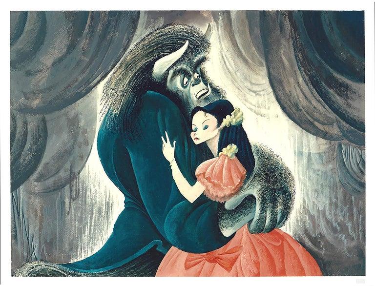 "Albert Al Hirschfeld Animal Print - ""Beauty and the Beast"", 1994, Lithograph by Al Hirschfeld"
