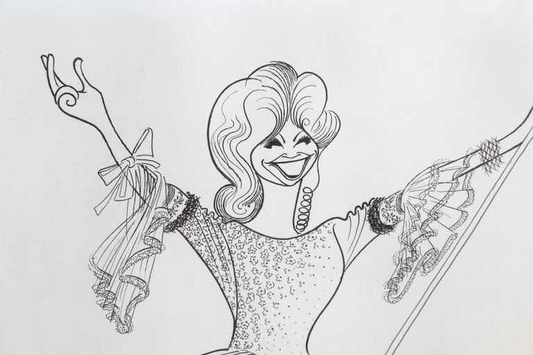 Beverly Sills, Opera Caricature Etching by Al Hirschfeld - Beige Portrait Print by Albert Al Hirschfeld