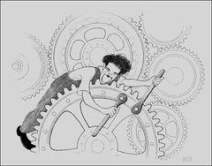 """Charlie Chaplin, Modern Times"", 1992, Lithograph by Al Hirschfeld"
