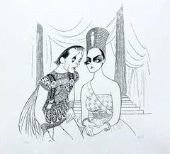 Cleopatra (R. Burton & E. Taylor), Limited Edition Lithograph, Al Hirschfeld