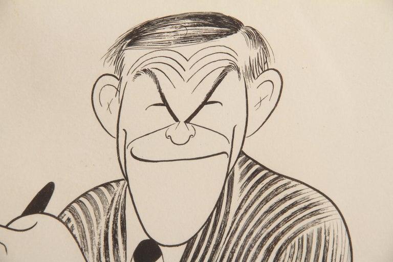 George Burns, Caricature by Al Hirschfeld - Beige Figurative Print by Albert Al Hirschfeld