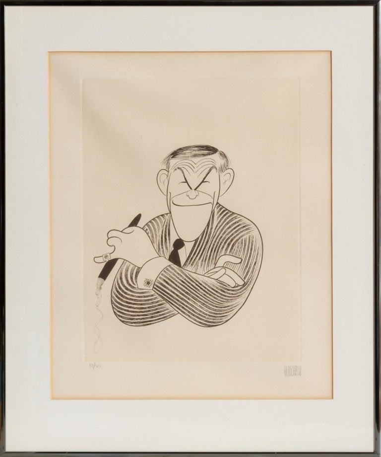 Albert Al Hirschfeld Figurative Print - George Burns, Caricature by Al Hirschfeld