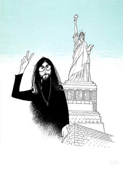 """John Lennon - Peace and Liberty"", Lithograph by Al Hirschfeld"