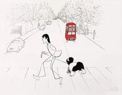 """Paul McCartney and Martha Crossing Abbey Road"" Lithograph by Al Hirschfeld"