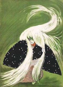 RENJISHI(The Lion Dance)Original Lithograph, Japanese Kabuki Theater, White Hair
