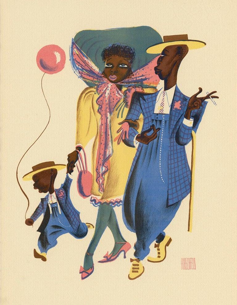 Albert Al Hirschfeld Figurative Print - Sharpy Family