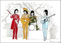"""The Beatles - Sgt. Peppers Lonely Hearts Club Band"" Lithograph by Al Hirschfeld"