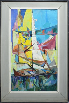 Vintage American Modernist Abstract Sailboat Seascape Painting by Albert Alcalay