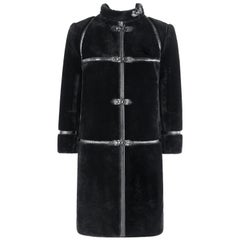 ALBERT ALFUS c.1960's Black Shearling Fur Leather Trim Buckle Up Overcoat