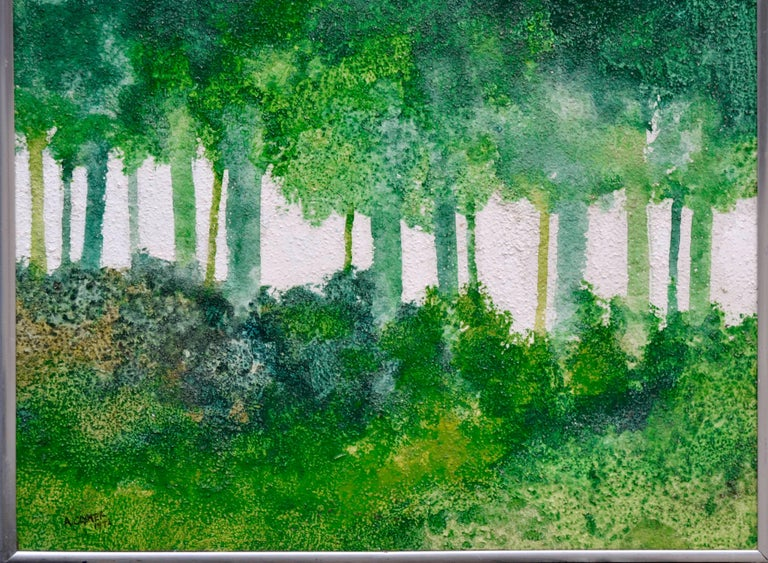 Mid-Century Modern Forest by Albert Clymer - Abstract Impressionist Painting by Albert Anderson Clymer