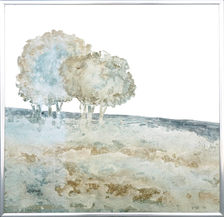 Modern Oak Trees in Field