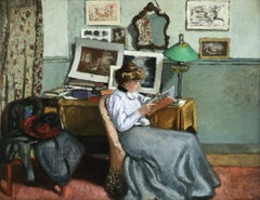 Femme Lisant - 19th Century Oil, Lady Reading in Interior by Albert Andre