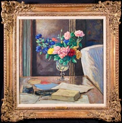 Roses dans un verre - Post Impressionist Oil, Still Life of Flowers by A Andre