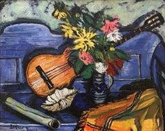 """""""Nature Morte a la Guitar"""", Albert Bertalan, Original Antique, Blue, Still Life"""