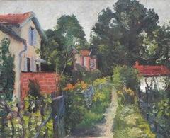 """""""Petit Mur En Brique Rouge"""", Albert Bertalan, Original Antique Green Landscape"""