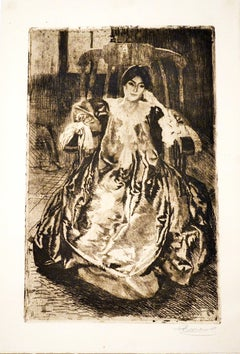 La Robe de Soie - Original Etching and Drypoint by Abel Besnard - 1887