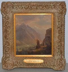 """Albert Bierstadt """"Valley of Meringen, Switzerland"""" oil on panel, circa 1858"""