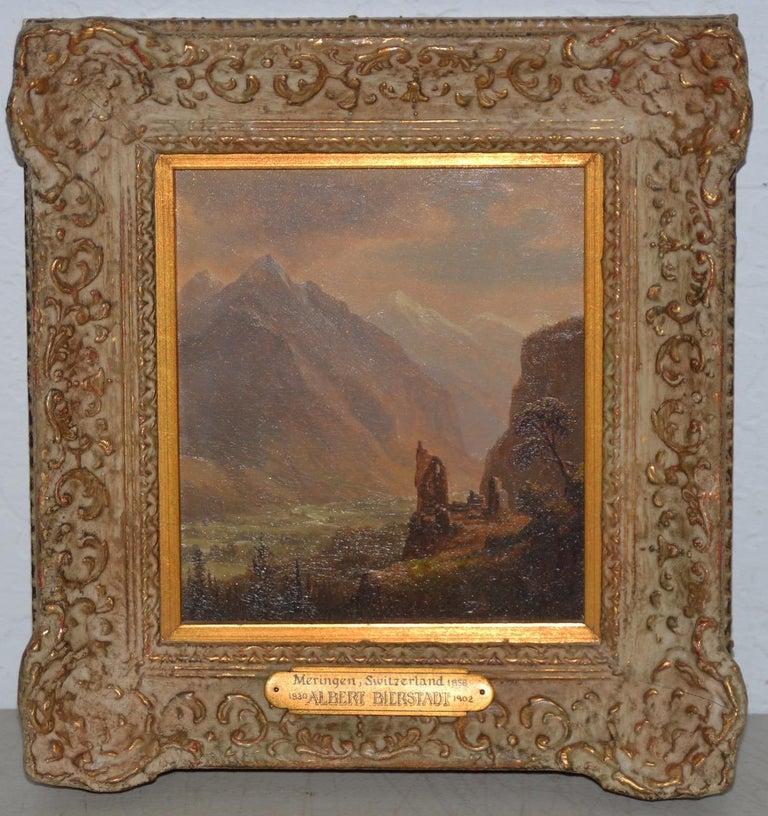 """Albert Bierstadt """"Valley of Meringen, Switzerland"""" oil on panel, circa 1858 - Painting by Albert Bierstadt"""