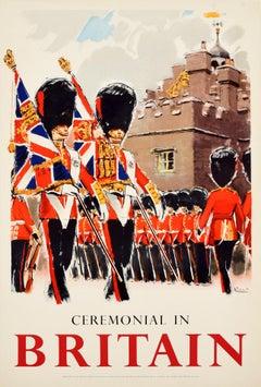Original Vintage Poster Ceremonial In Britain Royal Coldstream Guards Travel Art