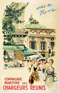 Original Vintage Poster Chargeurs Reunis Cruise Travel Paris Opera Cafe Fashion