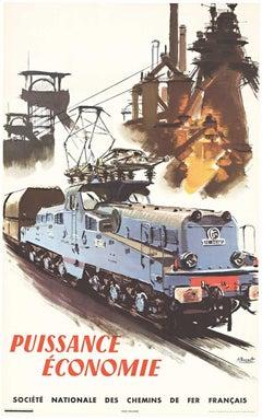 Puissance Economie SNCF French Railroad. original vintage poster