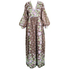 Albert Capraro Vintage Bohemian Brown Floral Print Voile Maxi Dress, 1970s