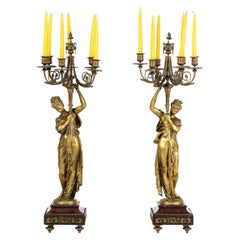 Albert Carrier-Belleuse '1824-1887' Pair of French Five-Fire Candelabra 19th