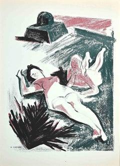 Women in the Sun - Original Lithograph by Albert Chavaz - 1947