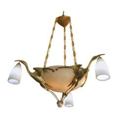Albert Cheuret Style 24-Karat Gold Finish Bronze Crane Chandelier