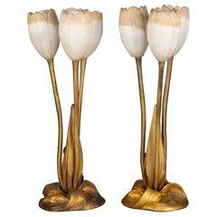 """Albert Cheuret Table Lamps """"Tulips"""""""