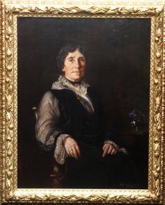 Portrait of a Lady in Lace Trimmed Gown - British Newlyn School art oil painting